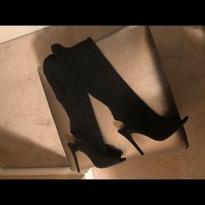 High knee sock open toe heels